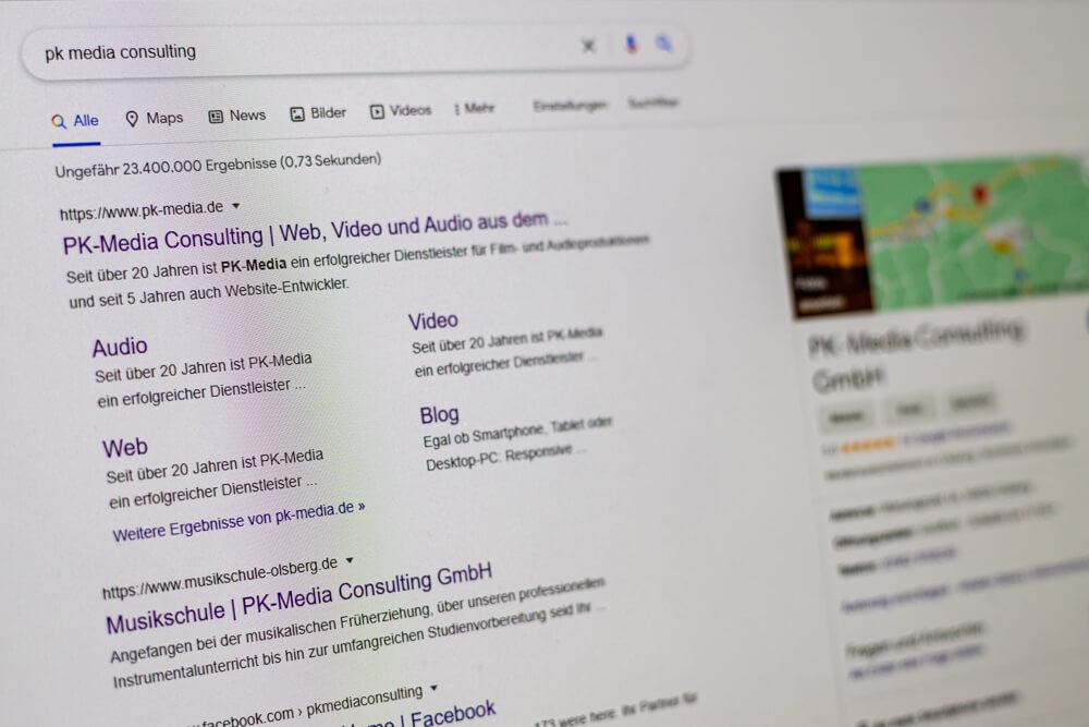 Google-Eintrag von PK-Media